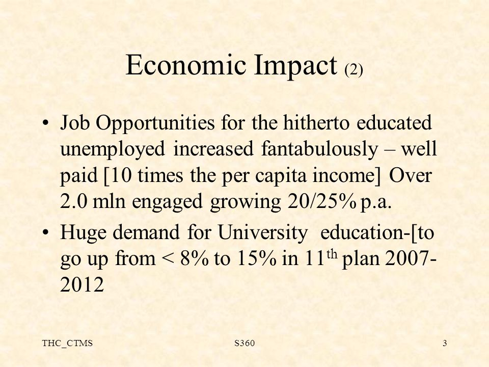 THC_CTMSS3603 Economic Impact (2) Job Opportunities for the hitherto educated unemployed increased fantabulously – well paid [10 times the per capita income] Over 2.0 mln engaged growing 20/25% p.a.