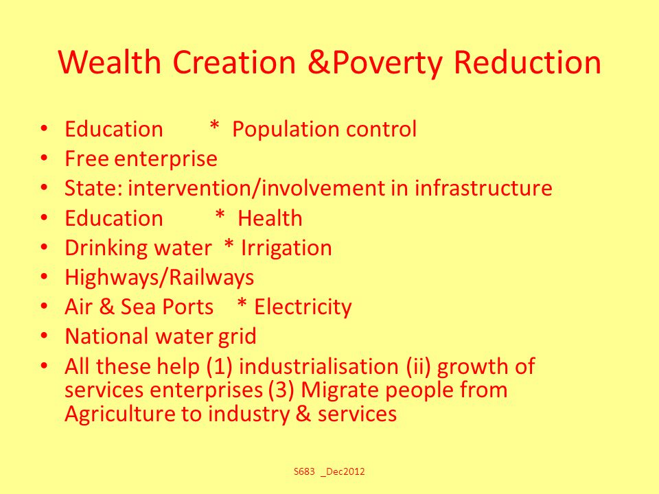 Wealth Creation &Poverty Reduction Education * Population control Free enterprise State: intervention/involvement in infrastructure Education * Health