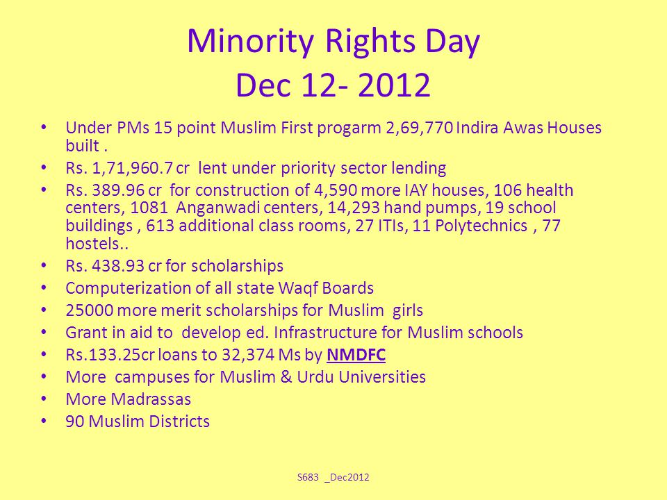 Minority Rights Day Dec 12- 2012 Under PMs 15 point Muslim First progarm 2,69,770 Indira Awas Houses built. Rs. 1,71,960.7 cr lent under priority sect