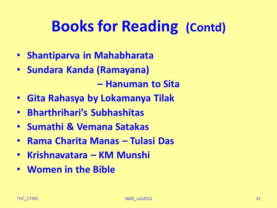 THC_CTMSS669_July201232 Books for Reading (Contd) Shantiparva in Mahabharata Sundara Kanda (Ramayana) – Hanuman to Sita Gita Rahasya by Lokamanya Tilak Bharthrihari's Subhashitas Sumathi & Vemana Satakas Rama Charita Manas – Tulasi Das Krishnavatara – KM Munshi Women in the Bible