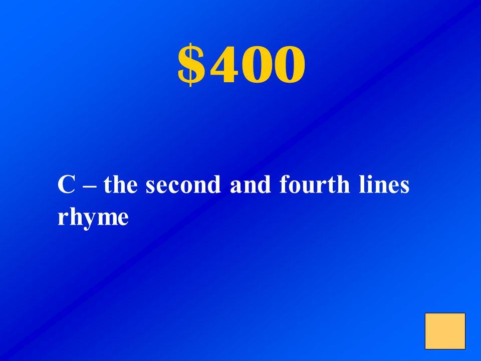 $400 B –full of