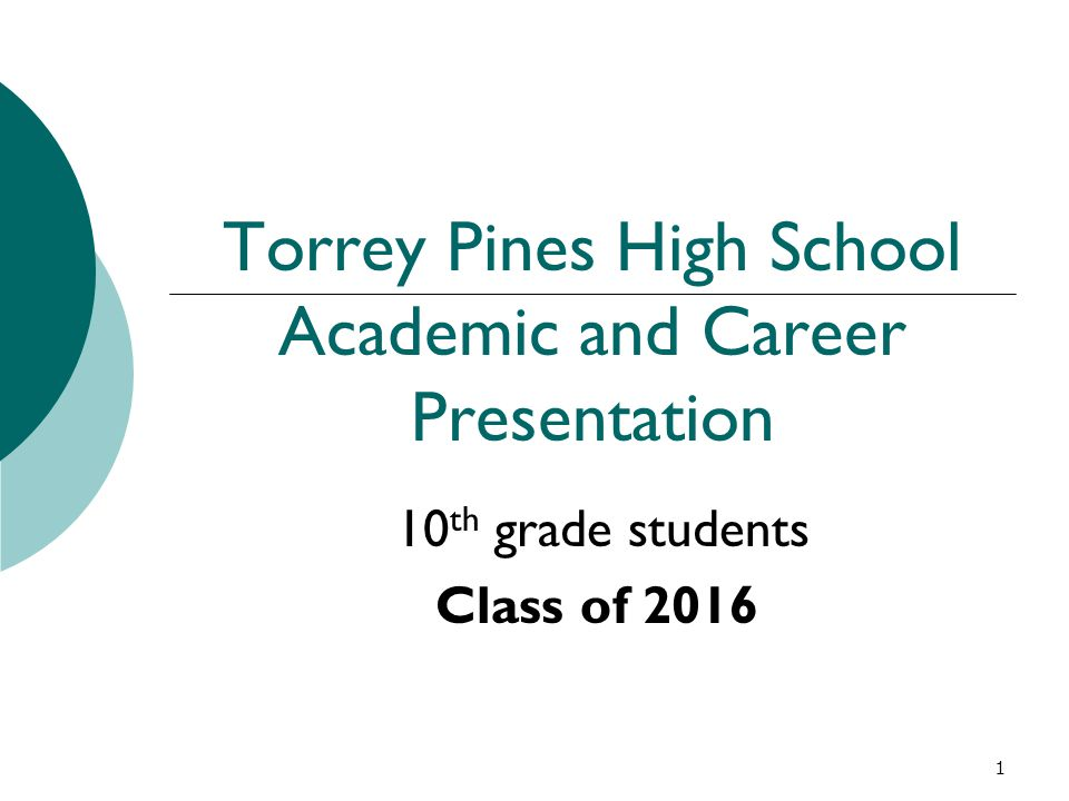 1 Torrey Pines High School Academic and Career Presentation 10 th grade students Class of 2016