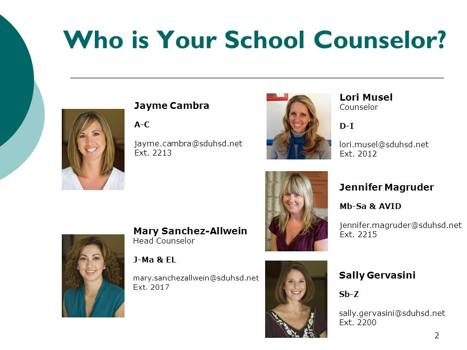 How to Contact Your School Counselor  Drop by times are: Before school During break During lunch After school  Students are also welcome to email their counselor.