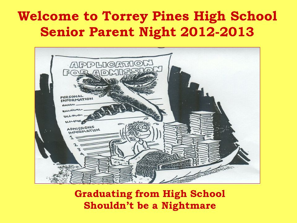 Welcome to Torrey Pines High School Senior Parent Night 2012-2013 Graduating from High School Shouldn't be a Nightmare