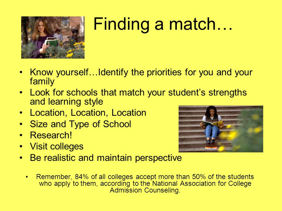 Finding a match… Know yourself…Identify the priorities for you and your family Look for schools that match your student's strengths and learning style