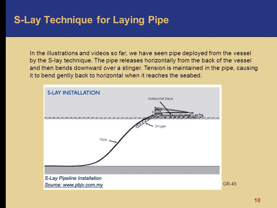 S-Lay Technique for Laying Pipe 10 In the illustrations and videos so far, we have seen pipe deployed from the vessel by the S-lay technique. The pipe