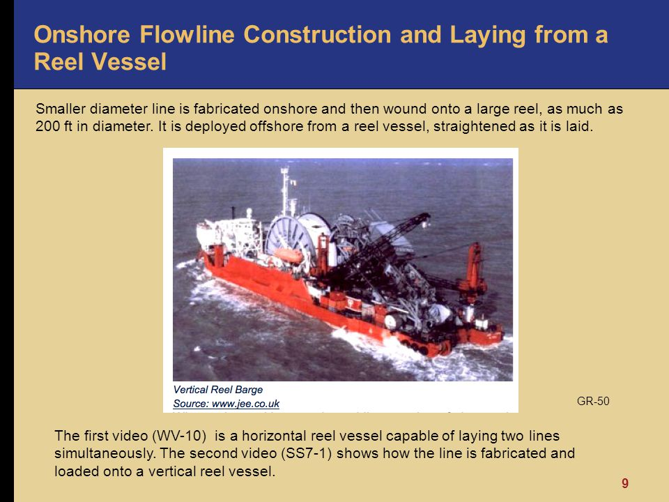 9 Onshore Flowline Construction and Laying from a Reel Vessel Smaller diameter line is fabricated onshore and then wound onto a large reel, as much as