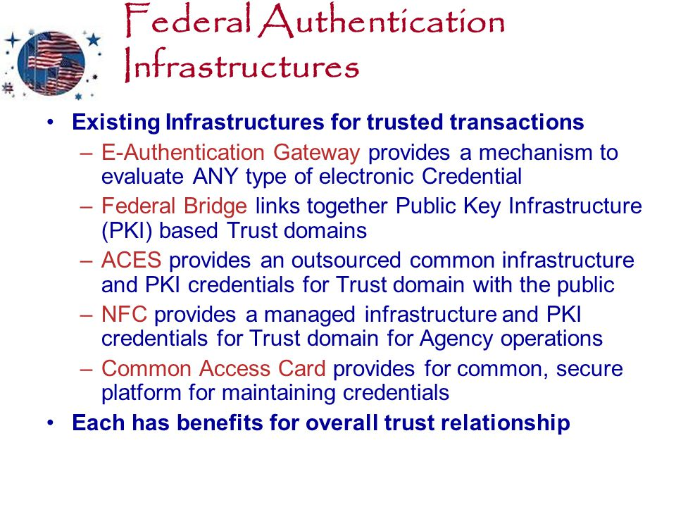 Federal Authentication Infrastructures Existing Infrastructures for trusted transactions –E-Authentication Gateway provides a mechanism to evaluate ANY type of electronic Credential –Federal Bridge links together Public Key Infrastructure (PKI) based Trust domains –ACES provides an outsourced common infrastructure and PKI credentials for Trust domain with the public –NFC provides a managed infrastructure and PKI credentials for Trust domain for Agency operations –Common Access Card provides for common, secure platform for maintaining credentials Each has benefits for overall trust relationship