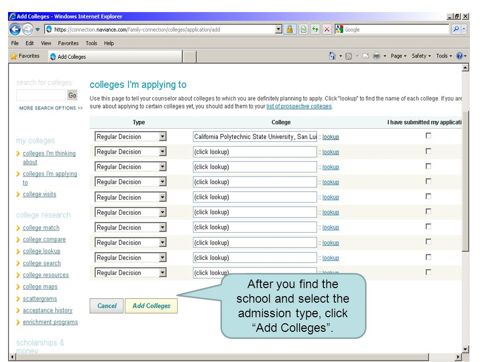 """After you find the school and select the admission type, click """"Add Colleges""""."""