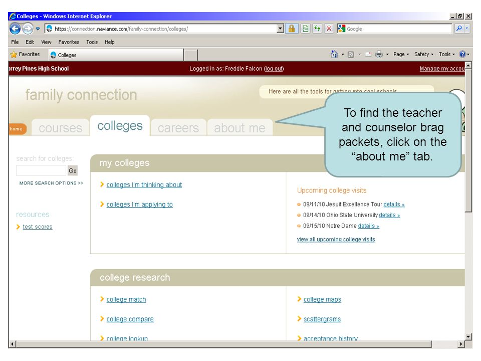 """To find the teacher and counselor brag packets, click on the """"about me"""" tab."""