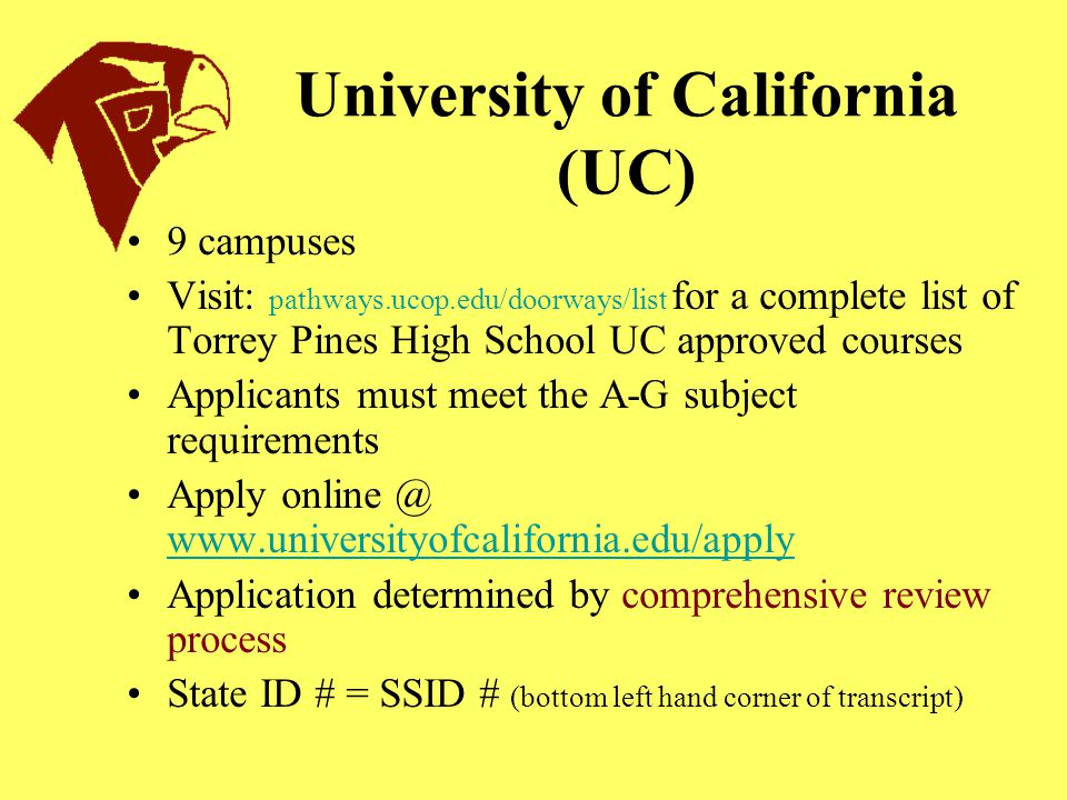 UC/CSU Subject Requirements (A-G) A: History/ Social Science: 2 years required B: English: 4 years required C: Math: 3 years required/ 4 yrs recommended D: Lab Science: 2 yrs required/ 3 recommended E: Foreign Language: 2 yrs required/ 3 yrs recommended F: Visual/ Performing Arts: 1 year required G: Electives: 1 year required