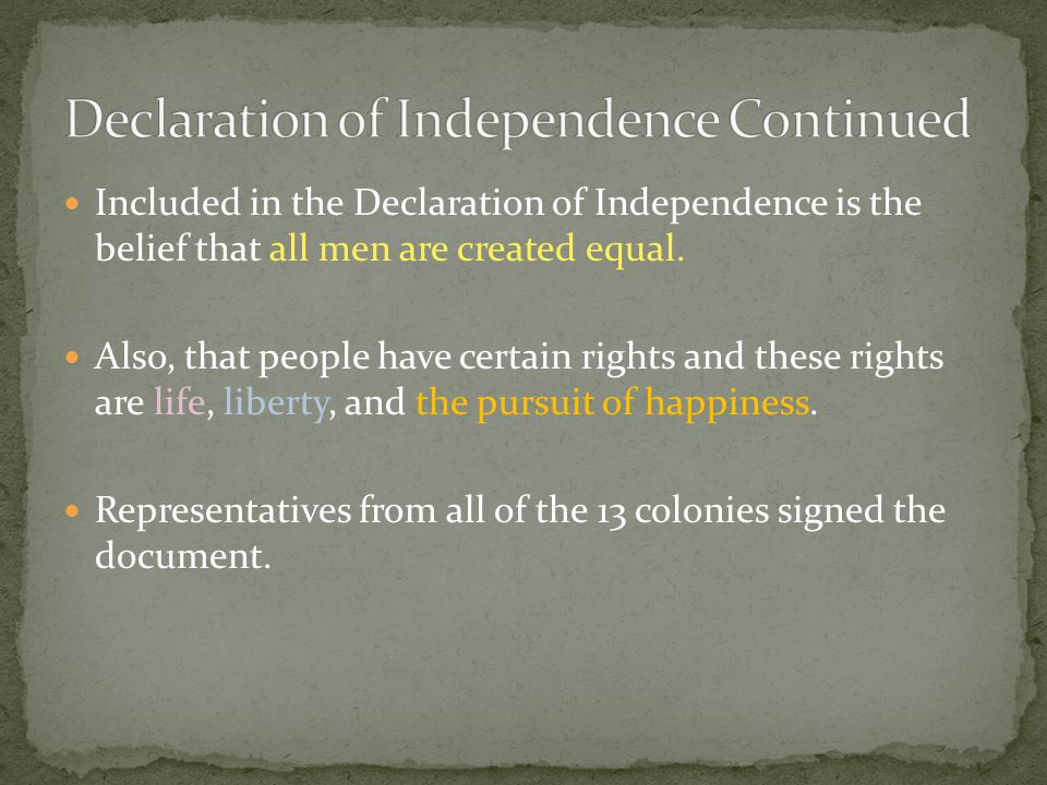 Included in the Declaration of Independence is the belief that all men are created equal.