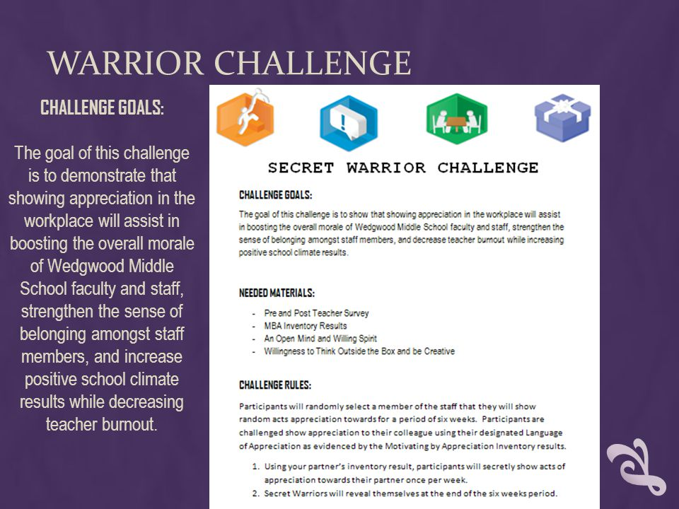 WARRIOR CHALLENGE CHALLENGE GOALS: The goal of this challenge is to demonstrate that showing appreciation in the workplace will assist in boosting the overall morale of Wedgwood Middle School faculty and staff, strengthen the sense of belonging amongst staff members, and increase positive school climate results while decreasing teacher burnout.