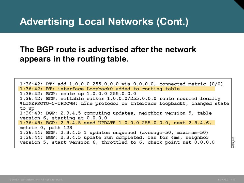 © 2005 Cisco Systems, Inc. All rights reserved. BGP v3.2—1-12 Advertising Local Networks (Cont.) The BGP route is advertised after the network appears
