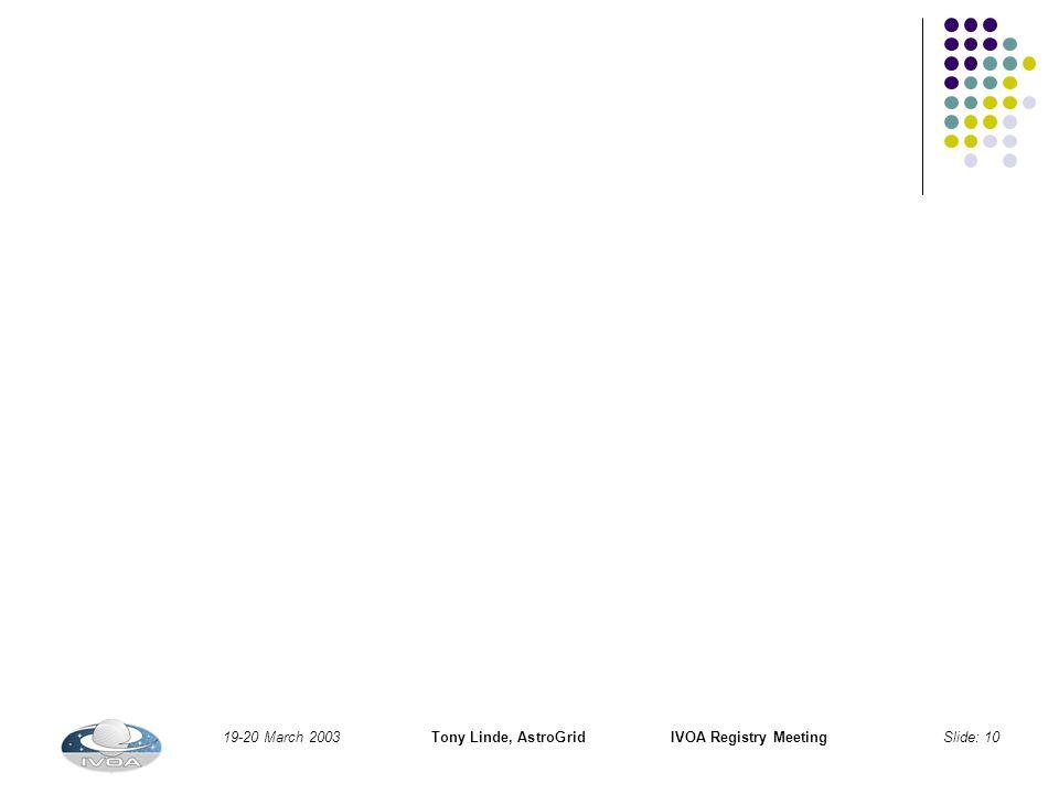 19-20 March 2003Tony Linde, AstroGridIVOA Registry MeetingSlide: 10