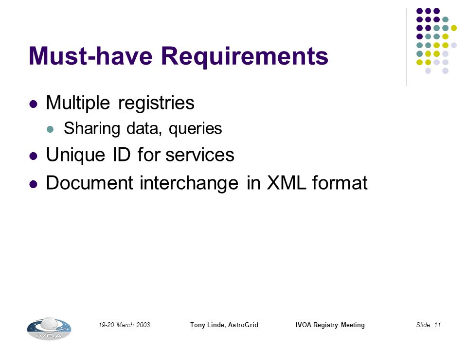 19-20 March 2003Tony Linde, AstroGridIVOA Registry MeetingSlide: 11 Must-have Requirements Multiple registries Sharing data, queries Unique ID for services Document interchange in XML format
