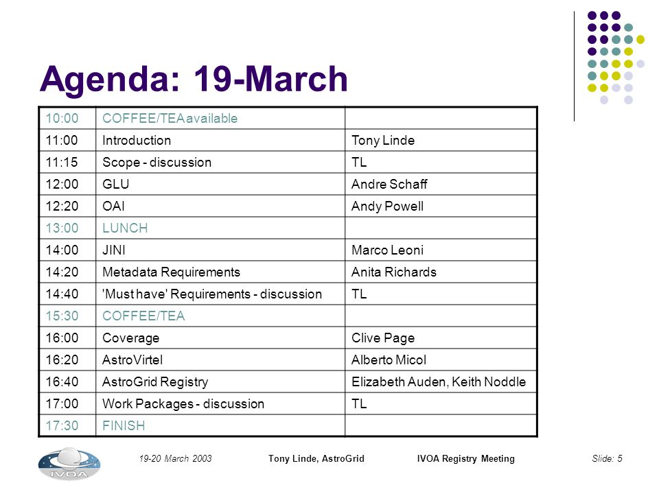19-20 March 2003Tony Linde, AstroGridIVOA Registry MeetingSlide: 5 Agenda: 19-March 10:00COFFEE/TEA available 11:00IntroductionTony Linde 11:15Scope - discussionTL 12:00GLUAndre Schaff 12:20OAIAndy Powell 13:00LUNCH 14:00JINIMarco Leoni 14:20Metadata RequirementsAnita Richards 14:40 Must have Requirements - discussionTL 15:30COFFEE/TEA 16:00CoverageClive Page 16:20AstroVirtelAlberto Micol 16:40AstroGrid RegistryElizabeth Auden, Keith Noddle 17:00Work Packages - discussionTL 17:30FINISH
