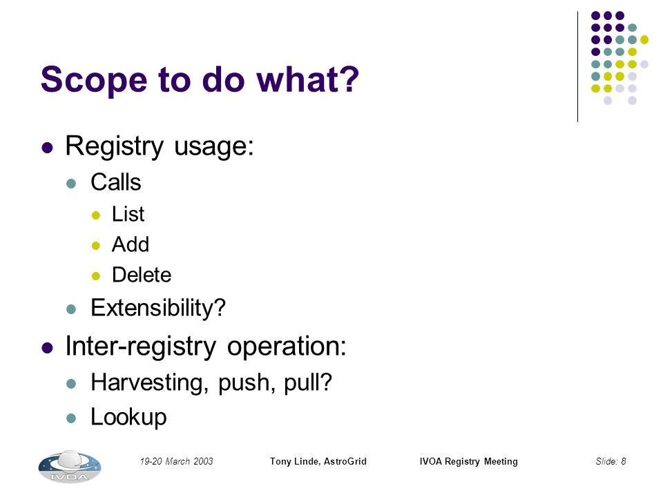 19-20 March 2003Tony Linde, AstroGridIVOA Registry MeetingSlide: 8 Scope to do what.