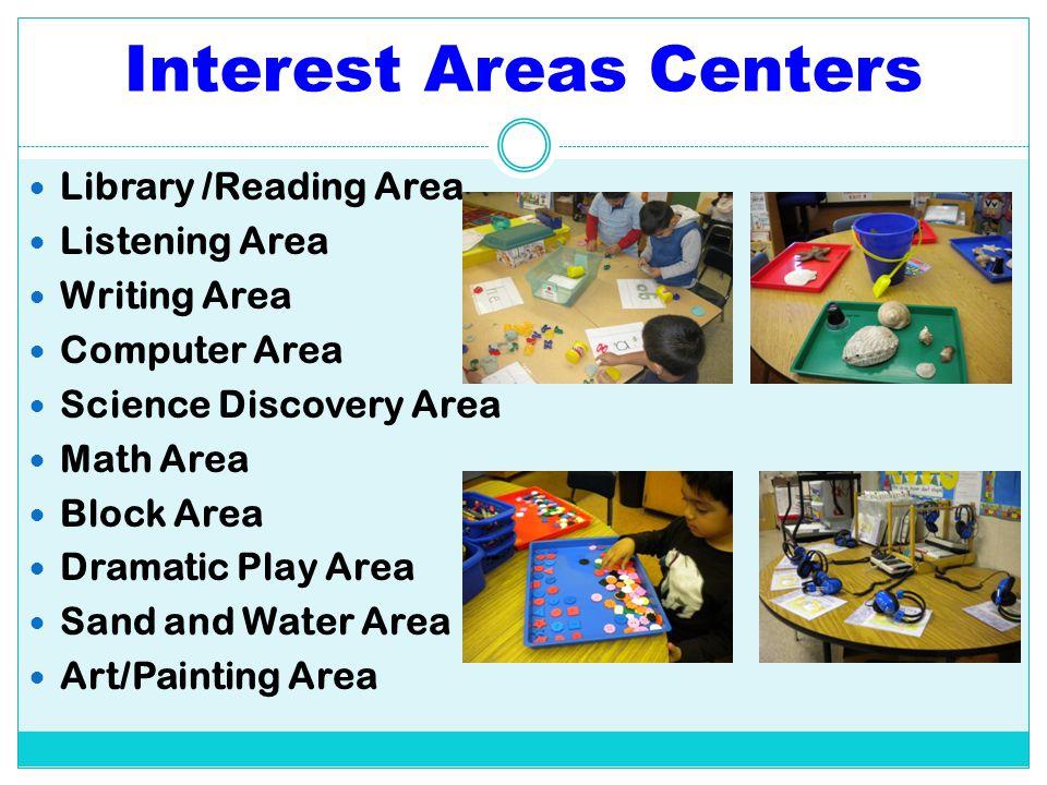 Interest Areas Centers Library /Reading Area Listening Area Writing Area Computer Area Science Discovery Area Math Area Block Area Dramatic Play Area
