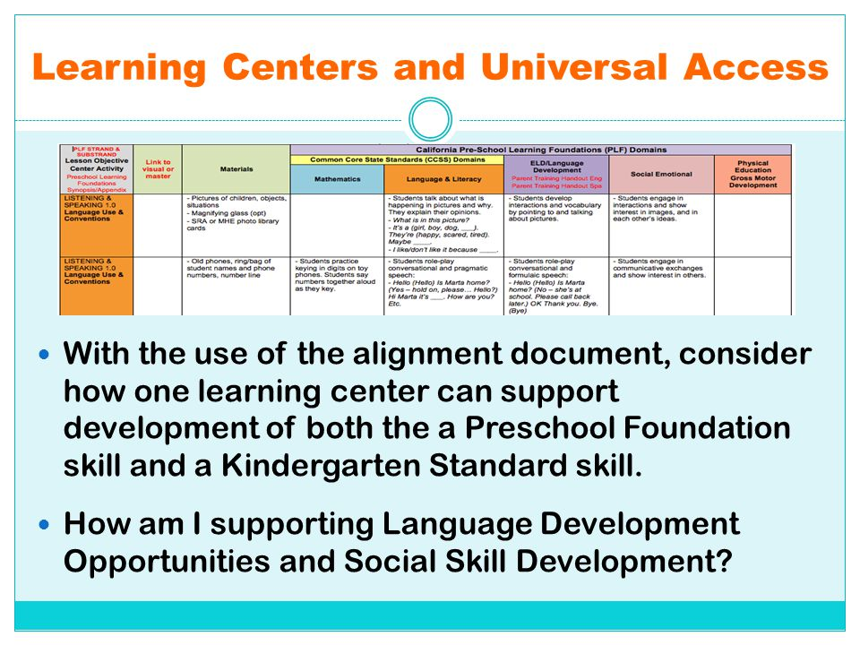Learning Centers and Universal Access With the use of the alignment document, consider how one learning center can support development of both the a P