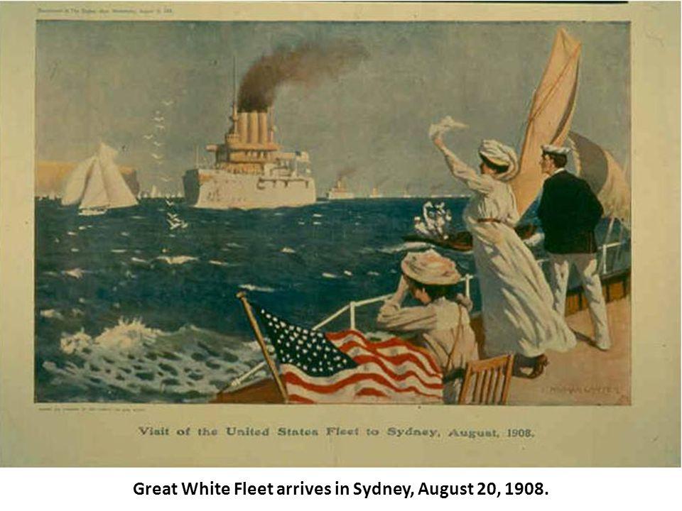 Great White Fleet arrives in Sydney, August 20, 1908.