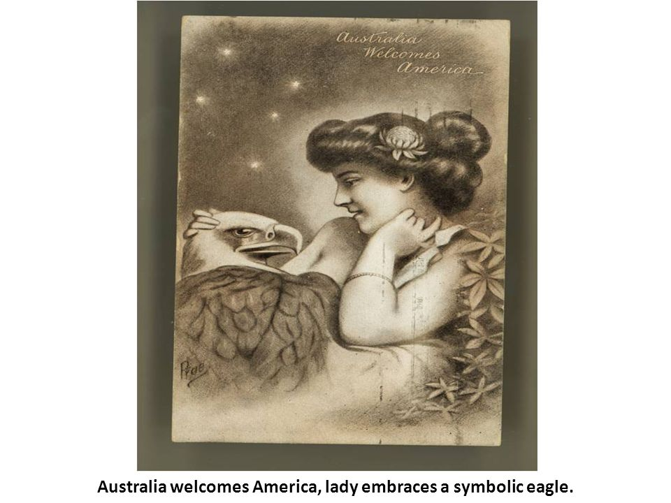 Australia welcomes America, lady embraces a symbolic eagle.
