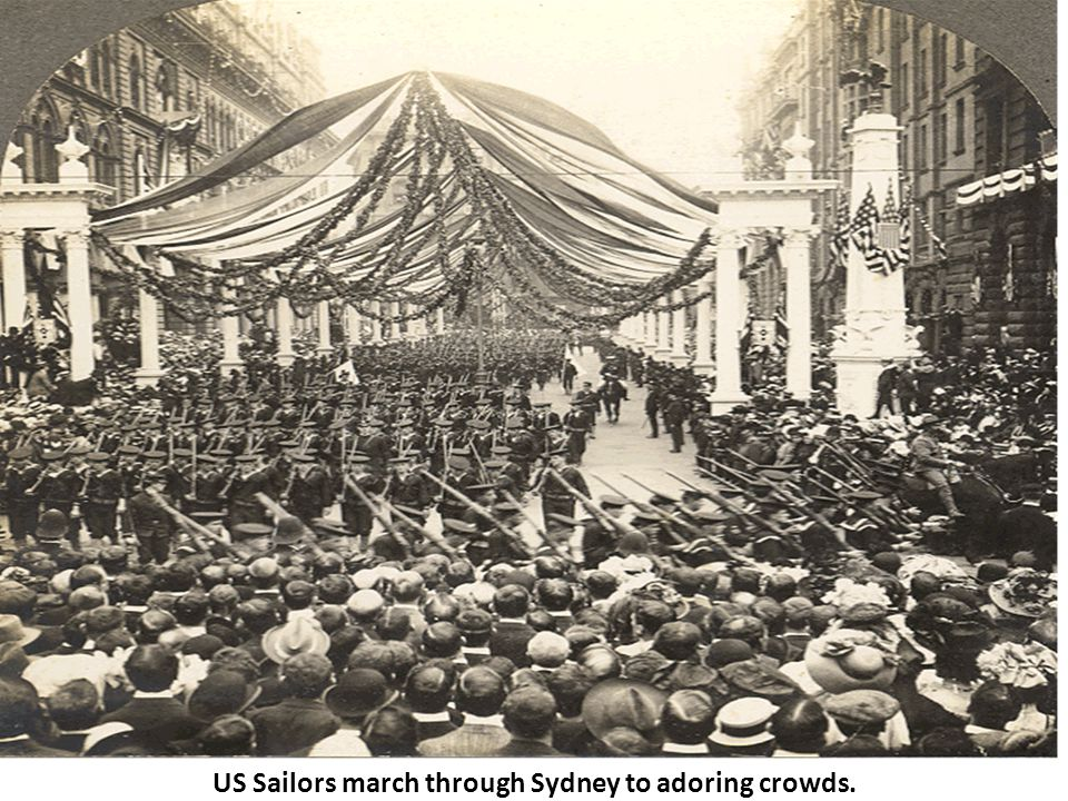 US Sailors march through Sydney to adoring crowds.