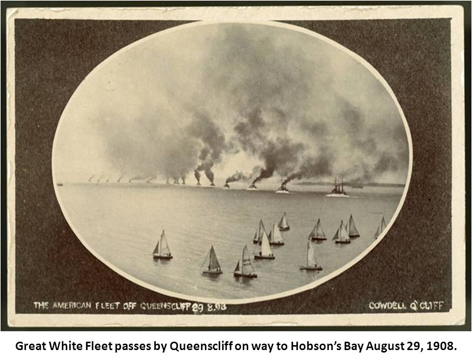 Great White Fleet passes by Queenscliff on way to Hobson's Bay August 29, 1908.