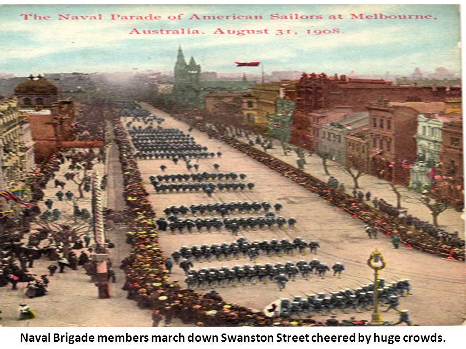 Naval Brigade members march down Swanston Street cheered by huge crowds.