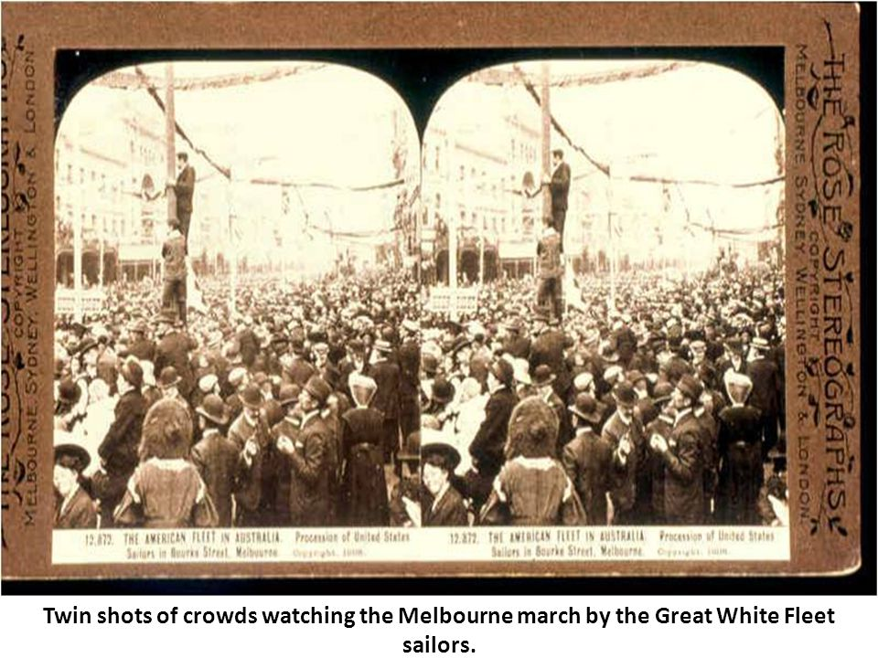 Twin shots of crowds watching the Melbourne march by the Great White Fleet sailors.