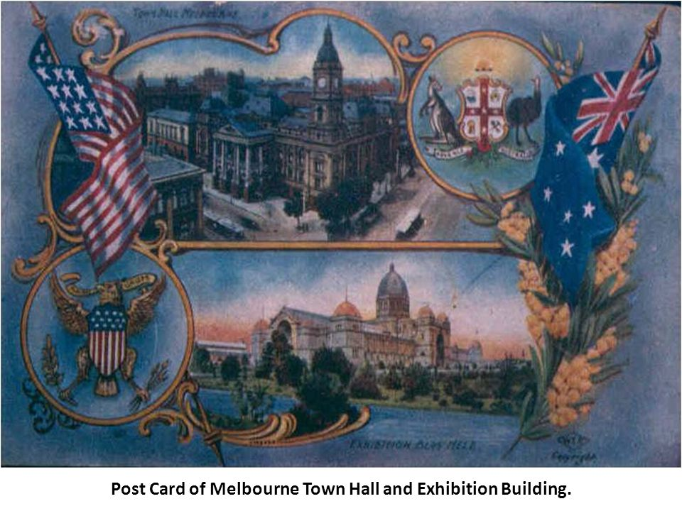 Post Card of Melbourne Town Hall and Exhibition Building.