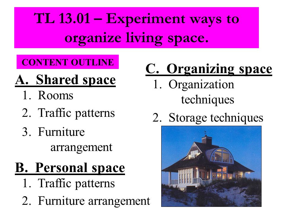 CONTENT OUTLINE A. Shared space 1. Rooms 2. Traffic patterns 3.