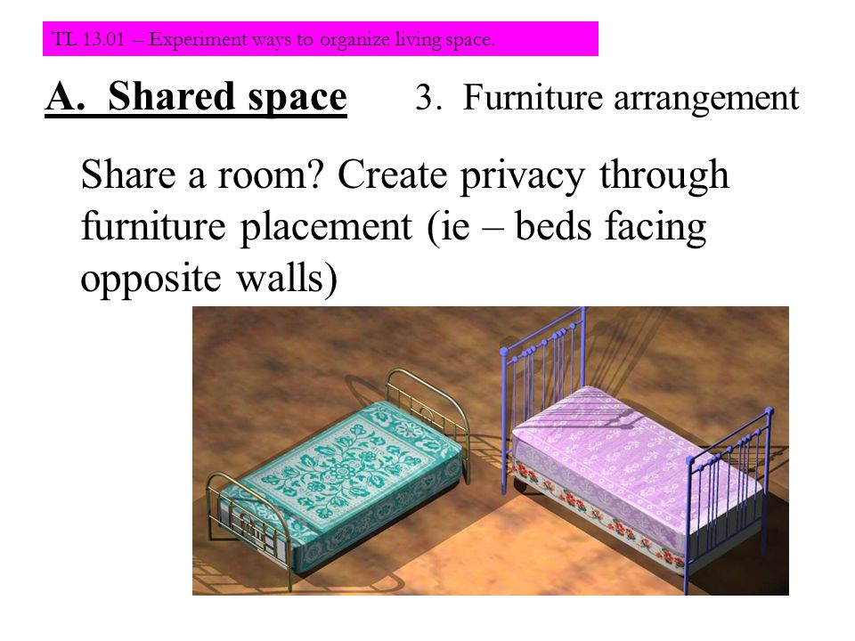TL 13.01 – Experiment ways to organize living space.