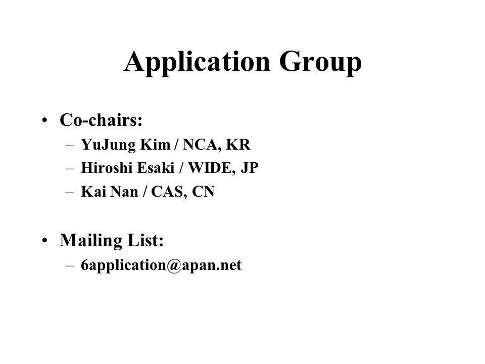 Application Group Co-chairs: –YuJung Kim / NCA, KR –Hiroshi Esaki / WIDE, JP –Kai Nan / CAS, CN Mailing List: –6application@apan.net