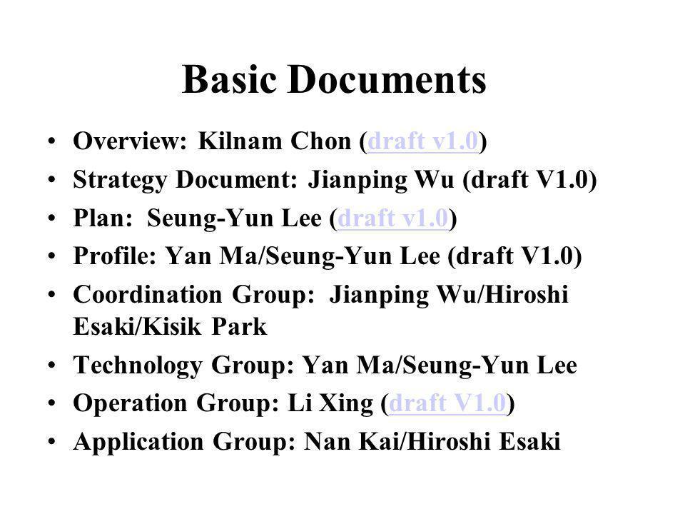 Basic Documents Overview: Kilnam Chon (draft v1.0)draft v1.0 Strategy Document: Jianping Wu (draft V1.0) Plan: Seung-Yun Lee (draft v1.0)draft v1.0 Pr