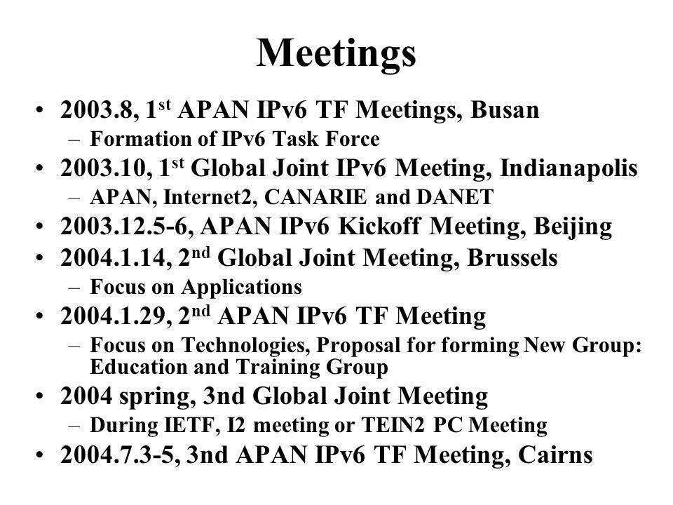 Meetings 2003.8, 1 st APAN IPv6 TF Meetings, Busan –Formation of IPv6 Task Force 2003.10, 1 st Global Joint IPv6 Meeting, Indianapolis –APAN, Internet