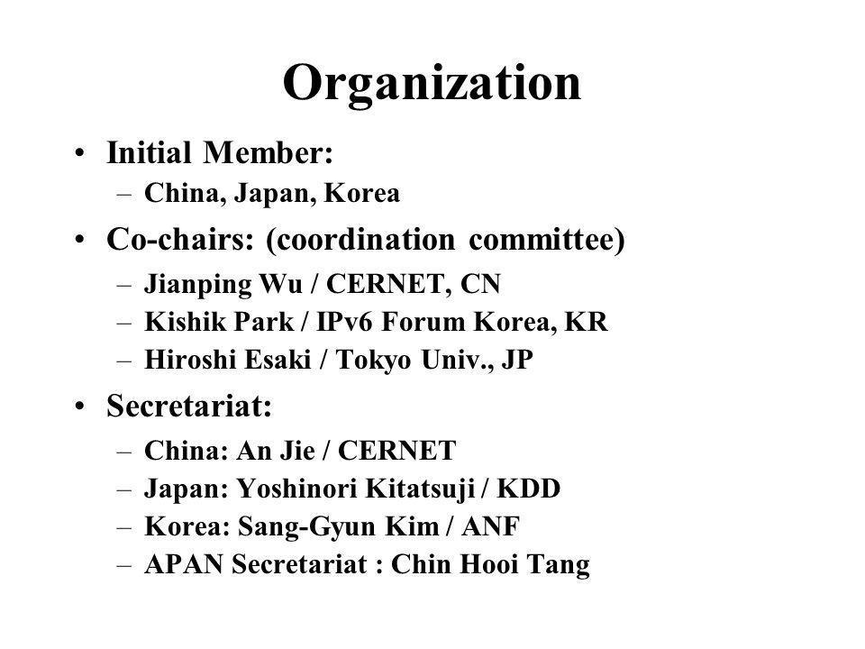 Organization Initial Member: –China, Japan, Korea Co-chairs: (coordination committee) –Jianping Wu / CERNET, CN –Kishik Park / IPv6 Forum Korea, KR –H