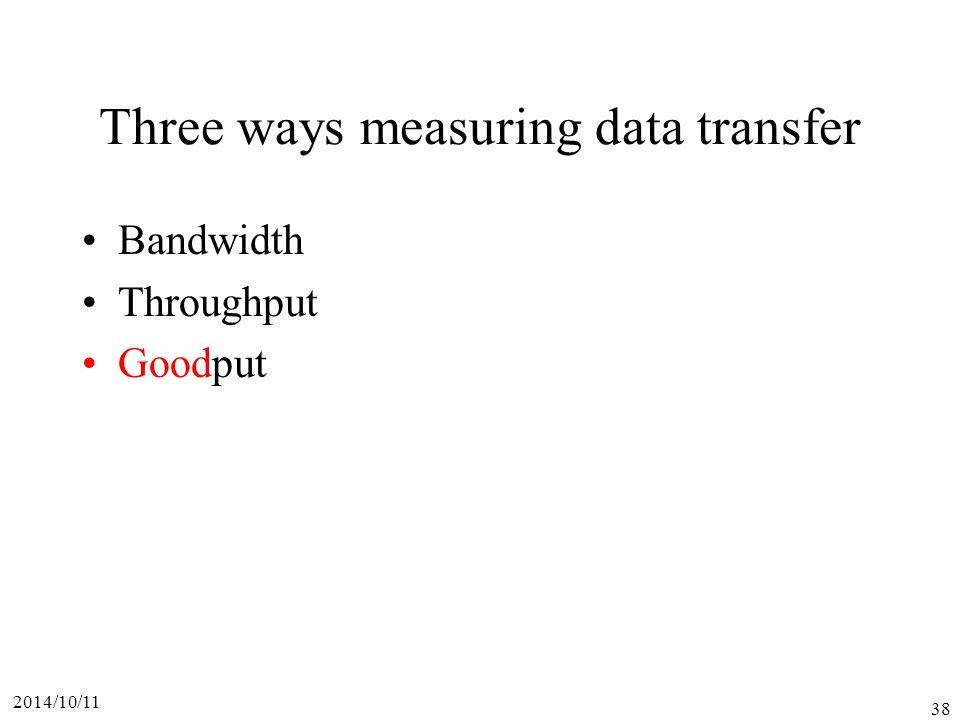 2014/10/11 38 Three ways measuring data transfer Bandwidth Throughput Goodput