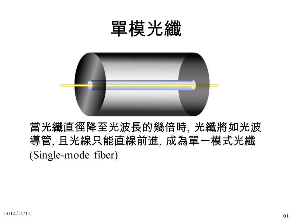 2014/10/11 61 單模光纖 當光纖直徑降至光波長的幾倍時, 光纖將如光波 導管, 且光線只能直線前進, 成為單一模式光纖 (Single-mode fiber)