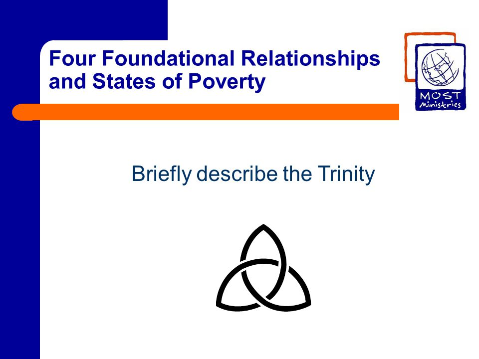 Four Foundational Relationships and States of Poverty Briefly describe the Trinity