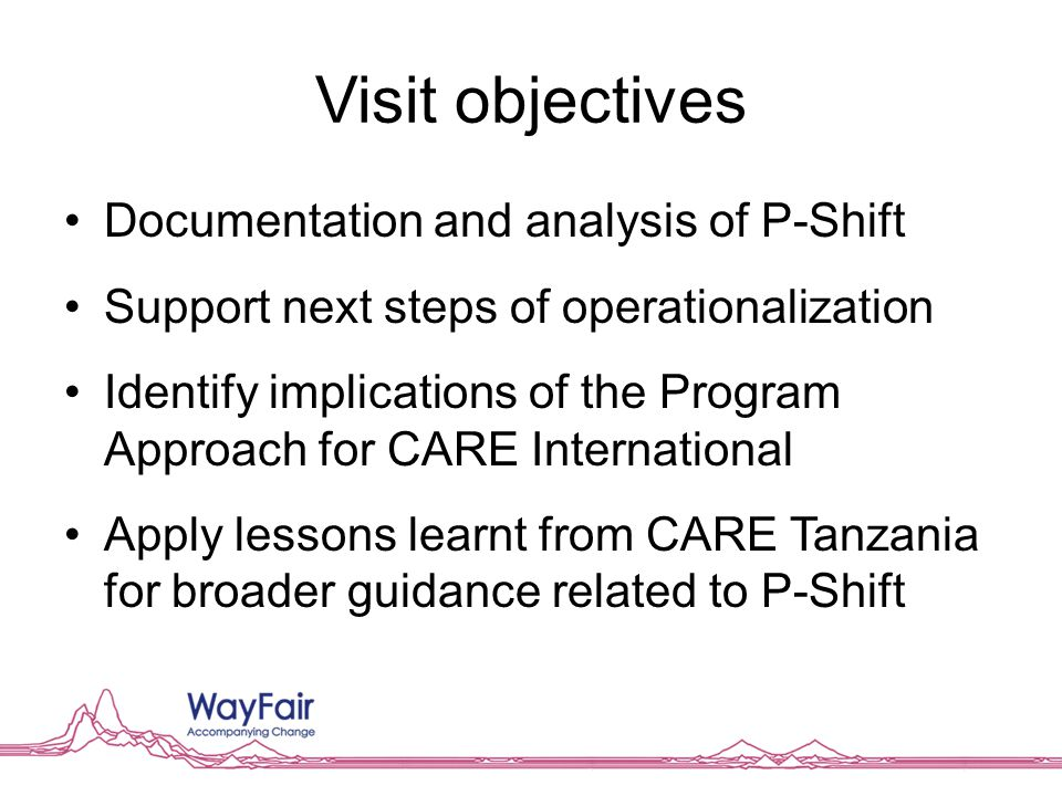 Visit objectives Documentation and analysis of P-Shift Support next steps of operationalization Identify implications of the Program Approach for CARE International Apply lessons learnt from CARE Tanzania for broader guidance related to P-Shift