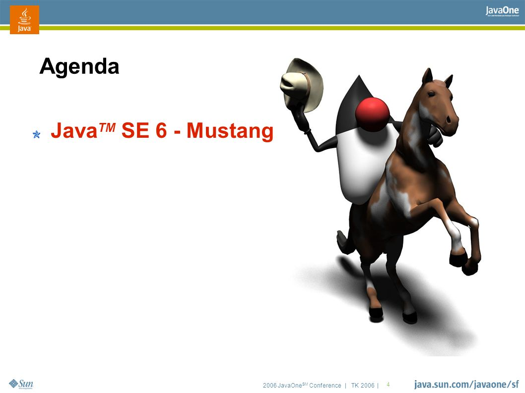 2006 JavaOne SM Conference | TK 2006 | 15 Scripting ● JSR-223 defines framework for scripting engines ● lets people plug-in new languages ● and call into the Java TM platform ● Sun is co-pckaging JavaScript TM language support ● using the Rhino engine from Mozilla ● Scripting project on java.net adds many others ● currently has 12+ plug-ins ● for Groovy,Jelly, Python, Ruby, Scheme, Tcl,...