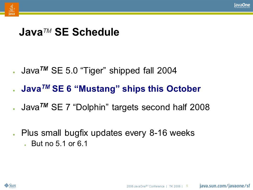 2006 JavaOne SM Conference | TK 2006 | 66 Java TM EE 5 Updated Specs ● EJB 3.0 (JSR-220) ● JSP 2.1 (JSR-245) ● Minor updates...