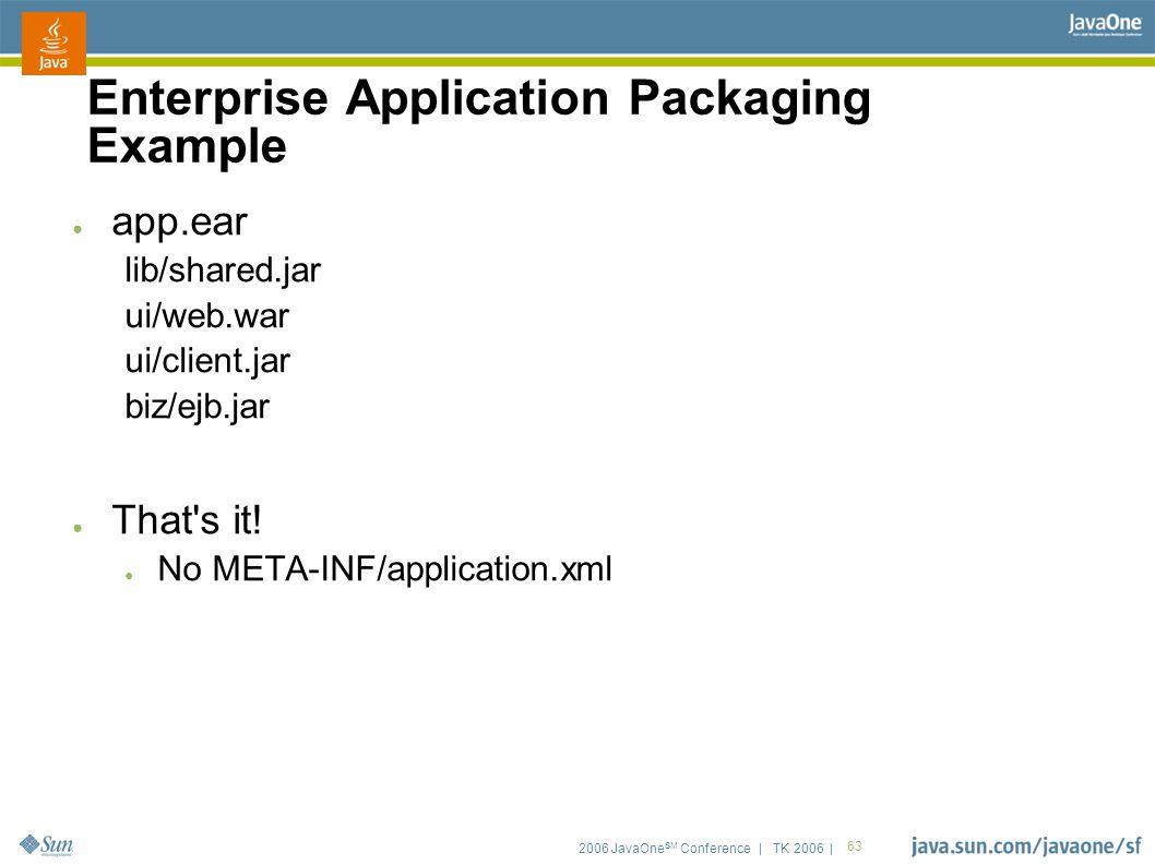 2006 JavaOne SM Conference | TK 2006 | 63 Enterprise Application Packaging Example ● app.ear lib/shared.jar ui/web.war ui/client.jar biz/ejb.jar ● That s it.