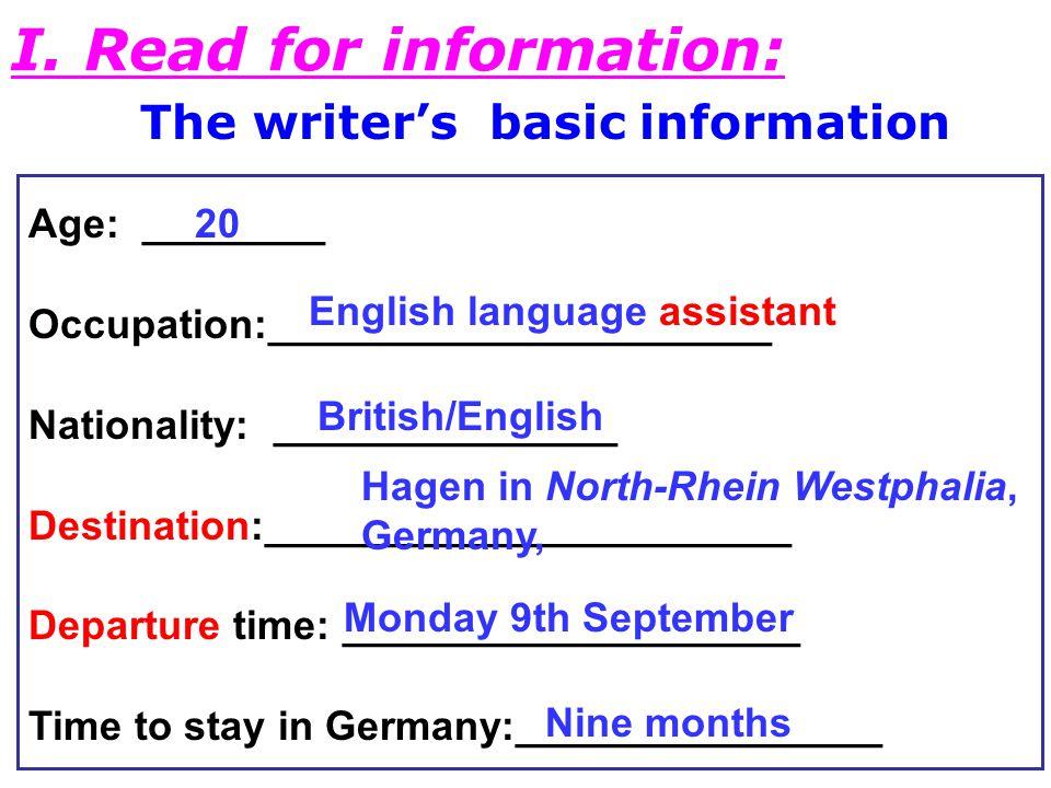 The writer's basic information I.