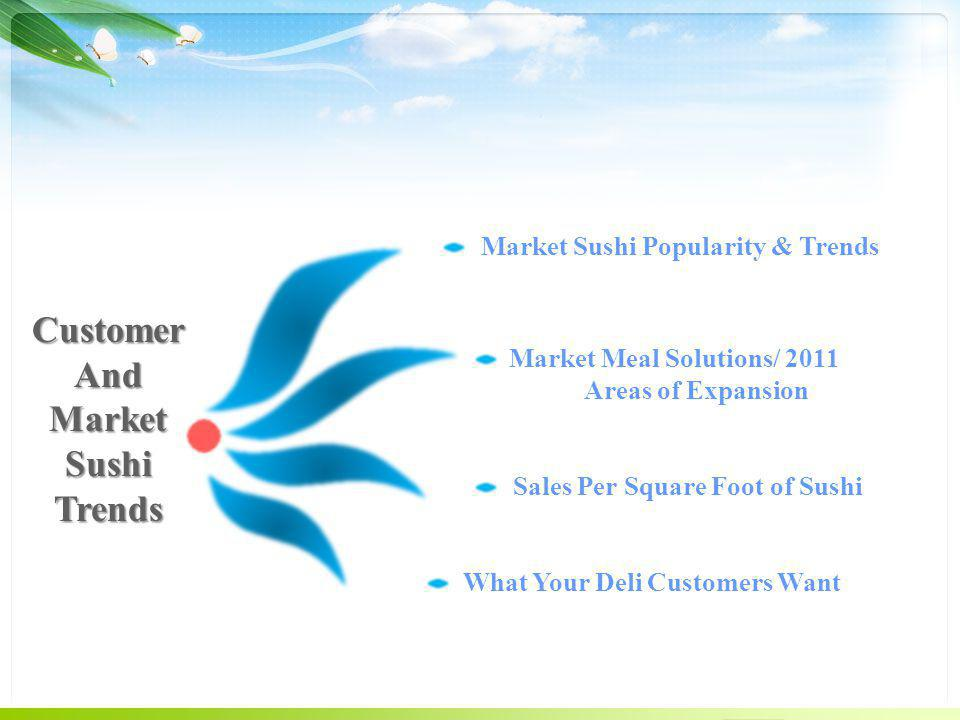 CustomerAnd Market Sushi Trends Market Meal Solutions/ 2011 Areas of Expansion Market Sushi Popularity & Trends Sales Per Square Foot of Sushi What Your Deli Customers Want