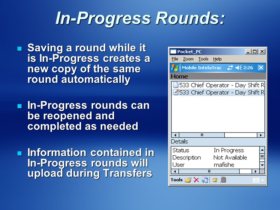In-Progress Rounds: Saving a round while it is In-Progress creates a new copy of the same round automatically Saving a round while it is In-Progress c