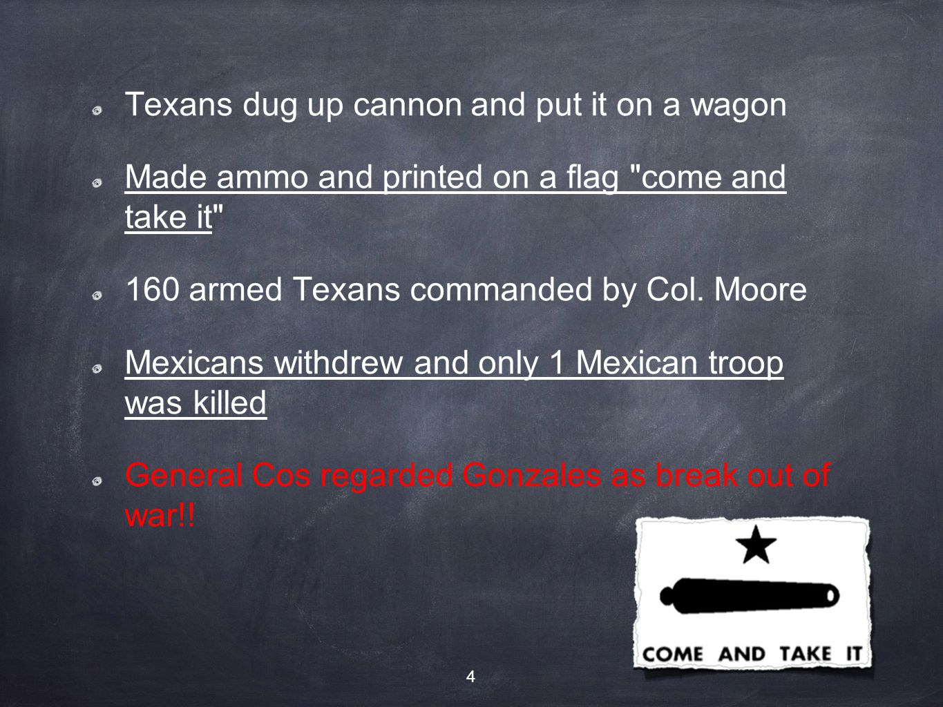 On to San Antonio 120 Texans took over Goliad garrison after the battle of Gonzales After the defeat of Mexicans at Goliad and Gonzales the Texans thought they would be easy to beat Large army remained in San Antonio with Gen.