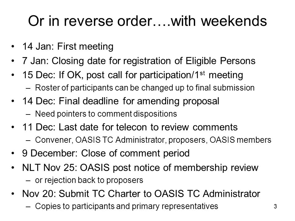 3 Or in reverse order….with weekends 14 Jan: First meeting 7 Jan: Closing date for registration of Eligible Persons 15 Dec: If OK, post call for participation/1 st meeting –Roster of participants can be changed up to final submission 14 Dec: Final deadline for amending proposal –Need pointers to comment dispositions 11 Dec: Last date for telecon to review comments –Convener, OASIS TC Administrator, proposers, OASIS members 9 December: Close of comment period NLT Nov 25: OASIS post notice of membership review –or rejection back to proposers Nov 20: Submit TC Charter to OASIS TC Administrator –Copies to participants and primary representatives