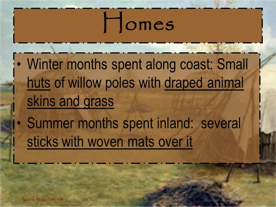 Homes Winter months spent along coast: Small huts of willow poles with draped animal skins and grass Summer months spent inland: several sticks with w